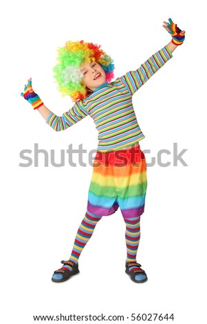 little boy in clown dress standing isolated on white background - stock photo