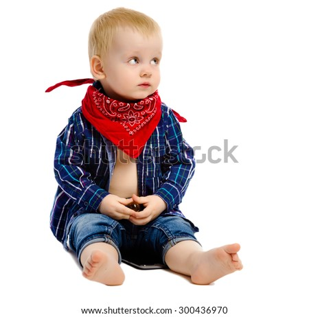 Little boy in gangster kerchief around his neck on a white background - stock photo