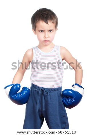 Little boy in hat boxing isolated on white - stock photo