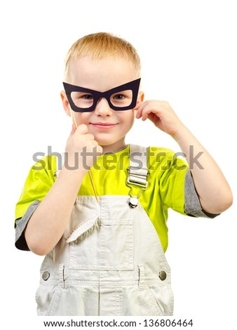 little boy in mask isolated on a white background