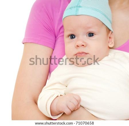 little  boy in mother's hands