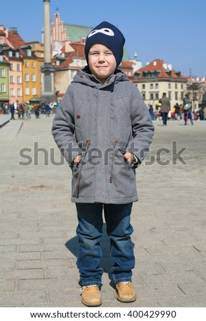 Little boy in old town Warsaw. Poland - stock photo