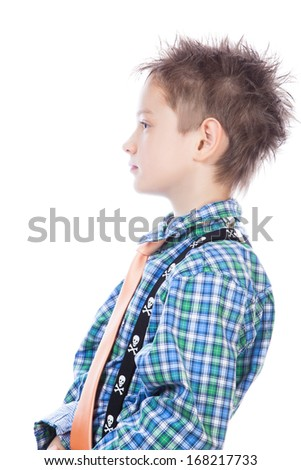 Little boy in profile, isolated on white background.
