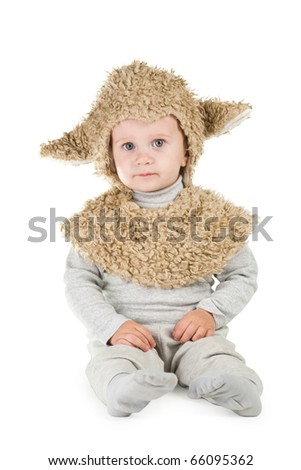 little boy in sheep costume - stock photo