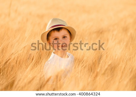 Little boy in the hat among the ears of wheat - stock photo