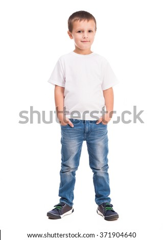 little boy in white shirt - stock photo