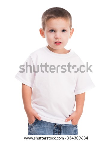 little boy in white shirt isolated on white background - stock photo