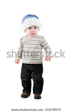 little boy in winter hat isolated on white background - stock photo