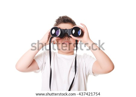little boy is looking through binoculars. Isolated over white background.