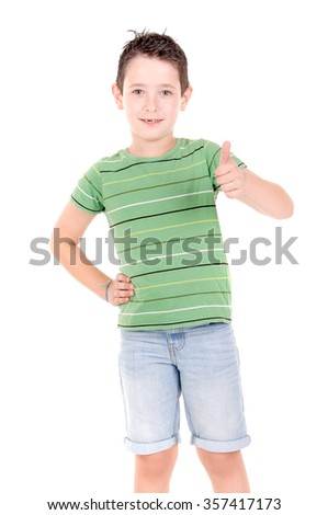 little boy isolated in white background