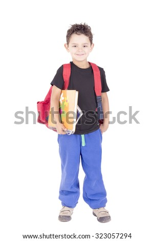 little boy isolated in white holding school books - stock photo