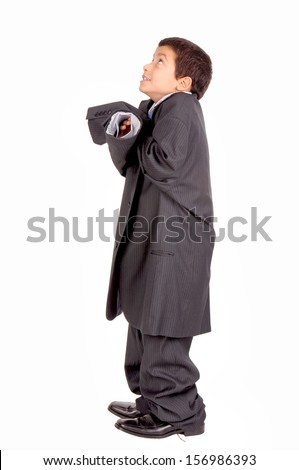 little boy isolated in white pretending to be an adult