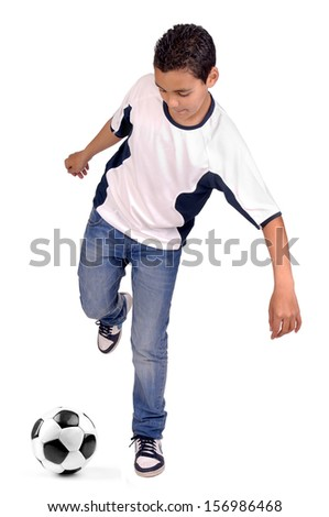little boy isolated in white with soccer ball - stock photo