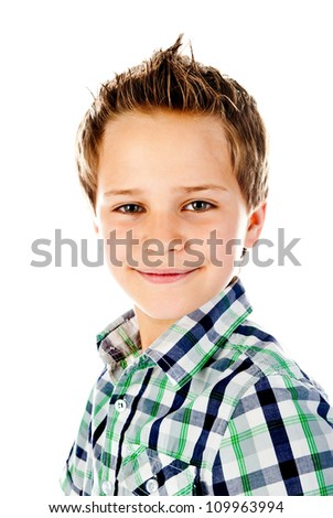 little boy isolated on a white background - stock photo