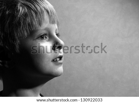 little boy, isolated on grey