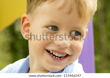 Little Boy Laughing. Outdoor