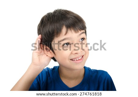 Little boy listening by hand up to the ear on white background - stock photo