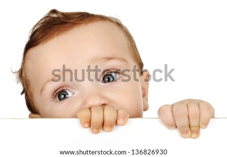 Little boy look out - stock photo