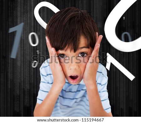 Little Boy looking scared against black background with numbers
