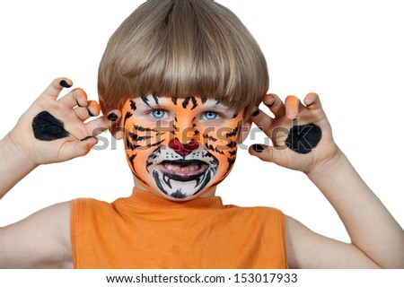 Little boy making face painting. Halloween