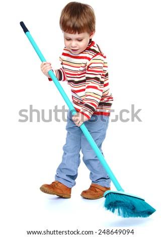 little boy my mother's helper, sweeping brush the floor.Isolated on white background, Lotus Children's Center - stock photo