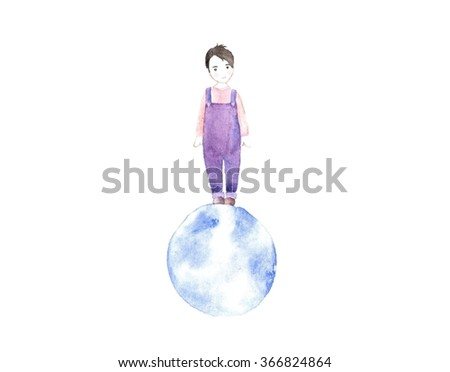 Little boy on blue planet illustration - stock photo
