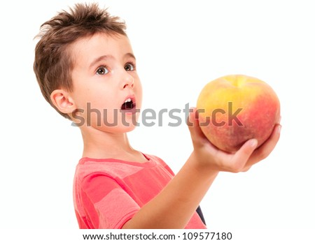 Little boy outstretch the peach isolated on white - stock photo