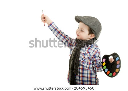 little boy painting/little boy painting - stock photo