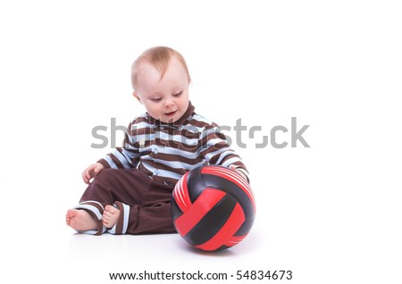 little boy playing ball - stock photo