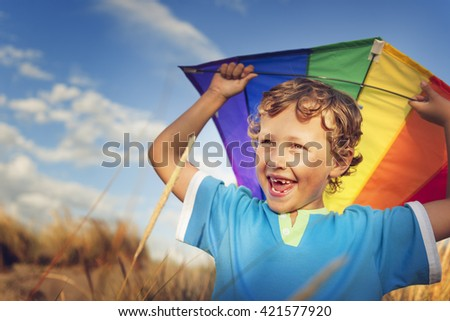 Little Boy Playing Kite Fun Happiness Enjoyment Outdoors Concept - stock photo