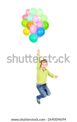 little boy playing with balloons isolated in white - stock photo