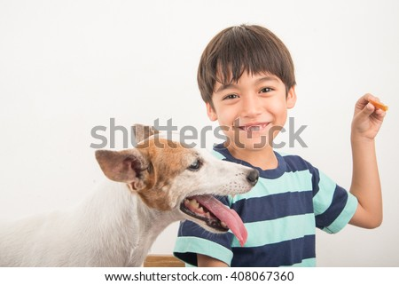 Little boy playing with his friend dog jack russel - stock photo