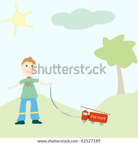 little boy playing with his toy, abstract  art illustration; for vector format please visit my gallery - stock photo
