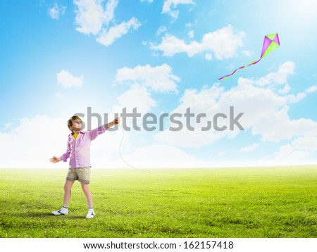 Little boy playing with kite on meadow. Childhood concept
