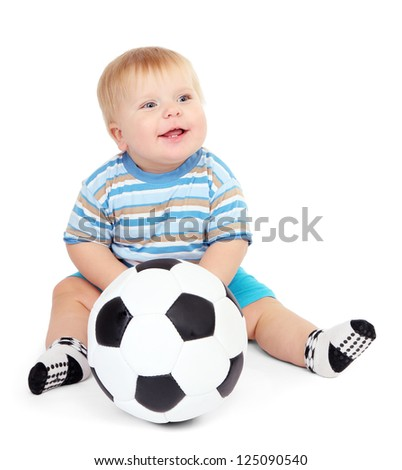 Little boy playing with soccer-ball, isolated on white