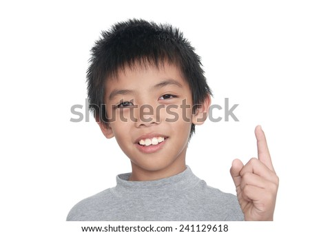 little boy point up  - stock photo