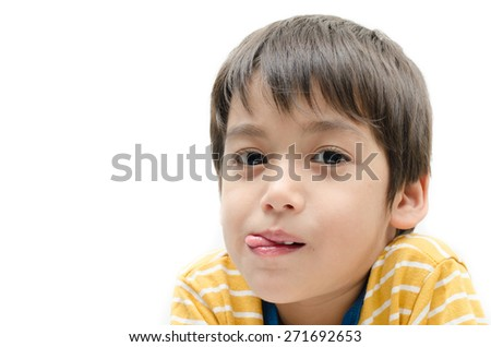 Little boy portrait close up face on white background