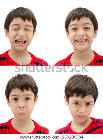 Little boy portrait face multi emotion on white background - stock photo