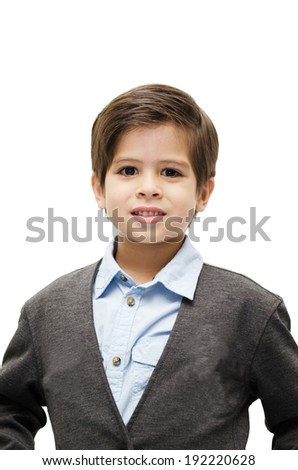 Little boy portrait on white background