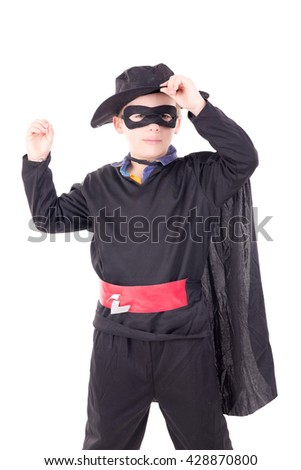 little boy posing on halloween isolated in white