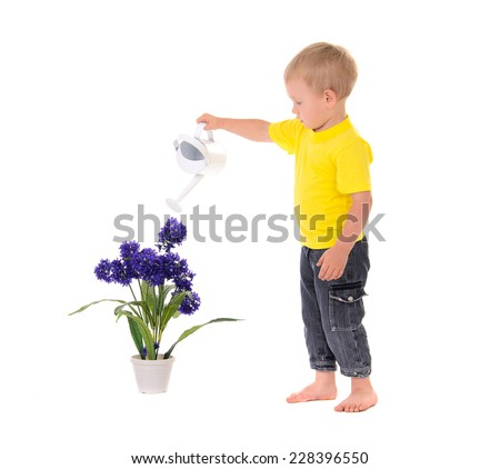 little boy pouring water on flower on white background - stock photo