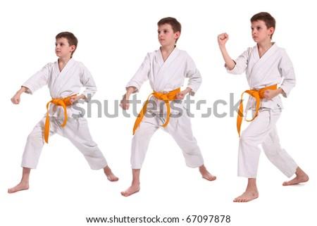 Little boy practice karate isolated on white background - stock photo