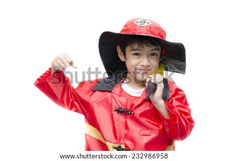 Little boy pretend as a fire fighter on white background - stock photo