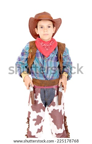 little boy pretending to be a cowboy isolated in white