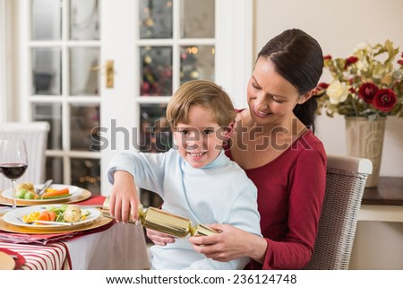Little boy pulling a christmas cracker with his mother at home in the living room