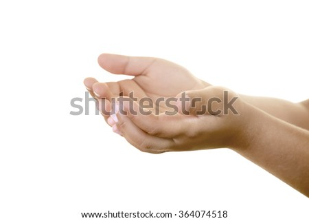 Little boy's hand is open to grab something delicate like a butterfly or  a little plant. Isolated on white. Caucasian middle eastern male hand.