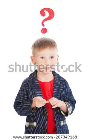 Little boy's portrait with a question sign, isolated - stock photo