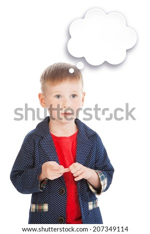Little boy's portrait with a text bubble template, isolated - stock photo