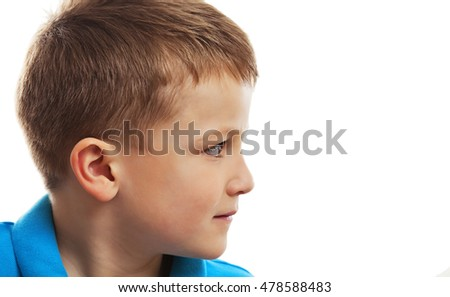 Little boy's profile on a white background