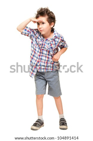 Little boy seeking with visor hand isolated on white - stock photo
